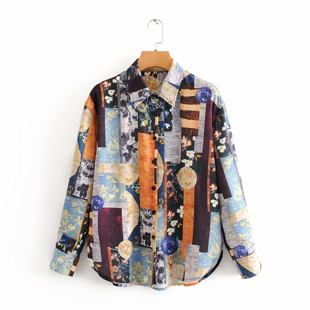 New 2020 Women Vintage Irregular Totem Print Casual Blouses Office Ladies Retro Leisure Business Shirts Chic Chemise Tops LS6302