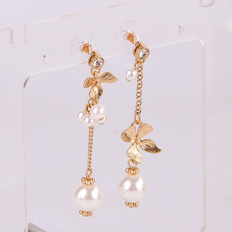 Exquisite Imitation Pearl Crystal Flower Dangle Earrings For Women Jewelry Wholesale