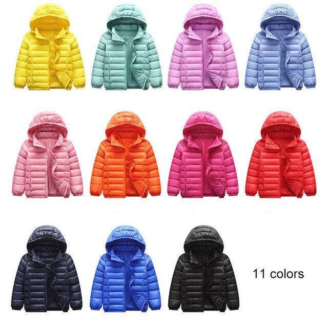 Baby Girls Boys Parka Light Kids Jacket Hood 90% Duck Down Coat Winter Children Jacket Spring Fall Toddler Outerwear 1 12 Year