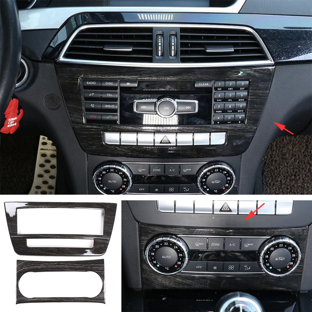 2*Black Wood Central Control CD Air Condition Trim For Benz C Class W204 2011-14