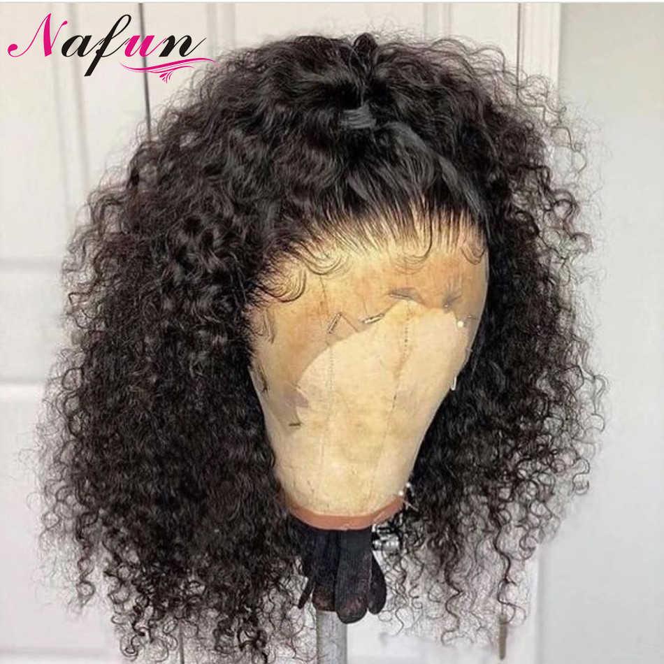 Perucas completas do cabelo humano do laço perucas kinky encaracolado para as mulheres glueless transparente perucas completas do laço remy cabelo brasileiro 150% densidade