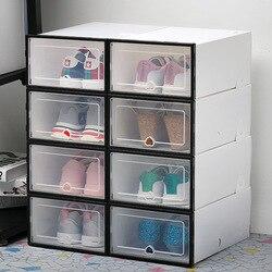 6 sztuk/zestaw Organizer na obuwie szuflady przeźroczyste tworzywo sztuczne schowek na buty prostokąt PP zagęszczony Organizer na buty szuflady pudełka na buty