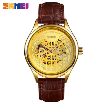SKMEI 2020 Automatic Mechanical Watch Men Luxury Top Brand Leather Strap Mens Watches Waterproof Relogio Masculino Clock Male relogio masculino sekaro moon phase mens watches top brand luxury gold men watch automatic mechanical leather wristwatches