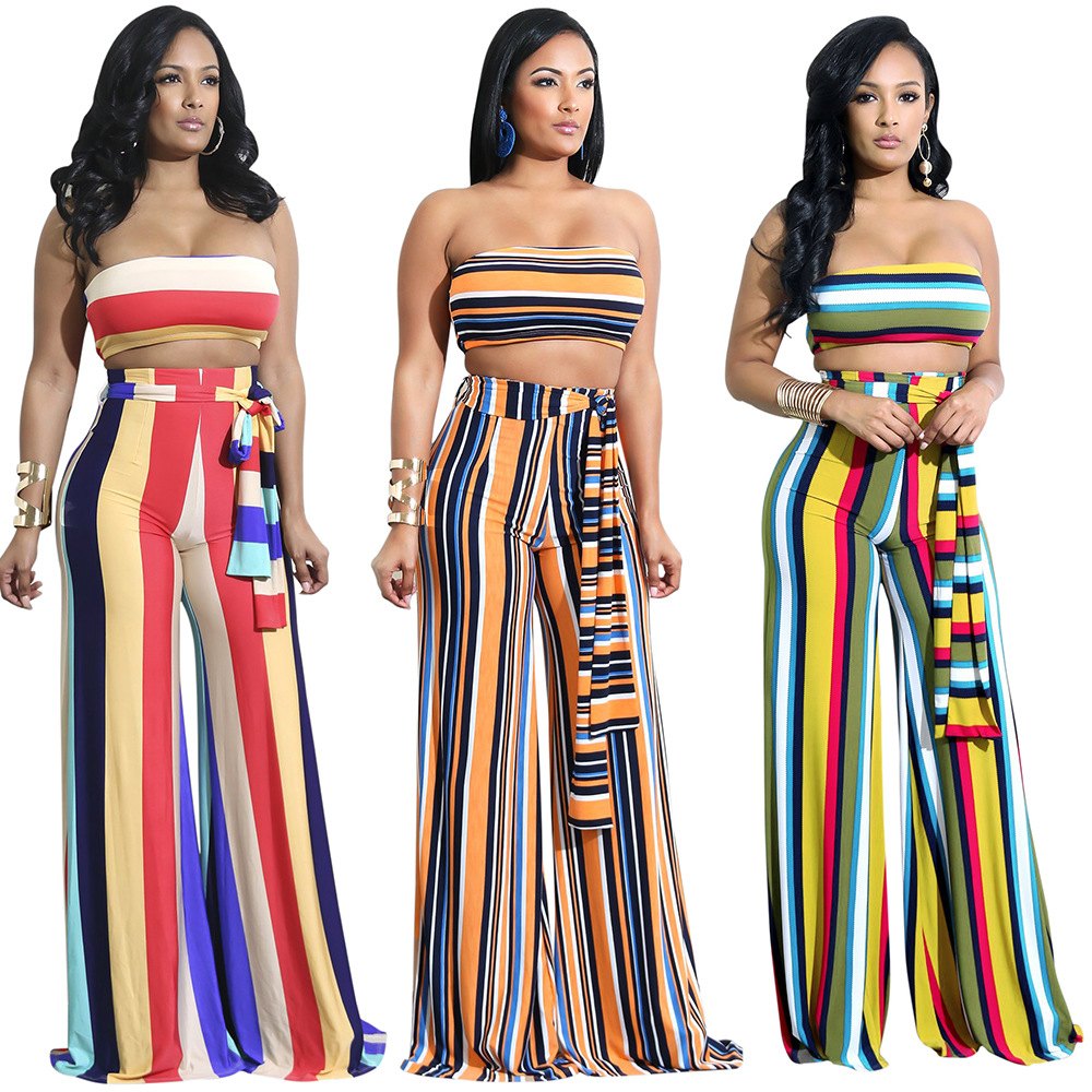 Hot Selling WOMEN'S Dress Europe And America-Multi-color Stripe Wrap-around Trousers Set Summer Two-Piece Set S1041