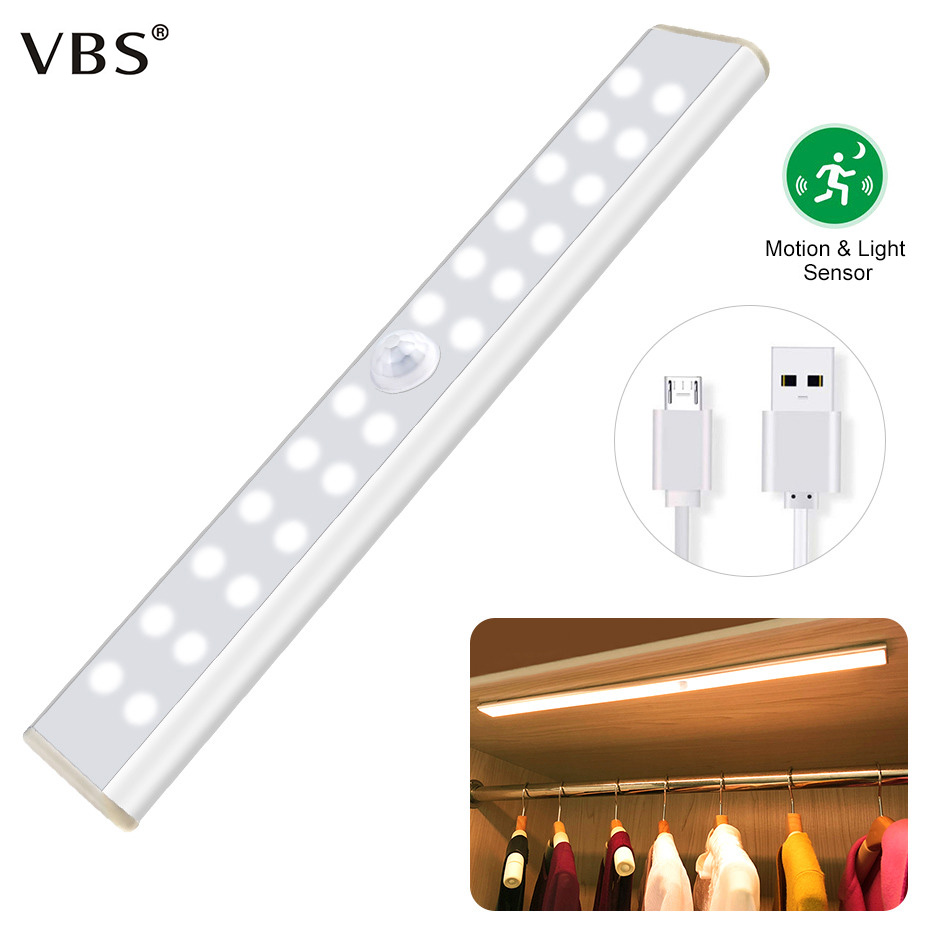 LED Closet Light Smart Lamp With PIR Motion Sensor Wireless Wall Lamp USB Charging  Battery Cabinet Led For Home  Kitchen Stairs