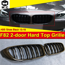 1 Pair F82 2-door Hard top Front Grille ABS Gloss Black M4-Style 420i 428i 430i 435i 2-Slats Kidney 13+