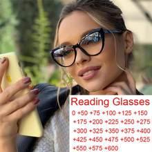 Gafas de lectura para ordenador para mujer, lentes de lectura con diseño de ojo de gato, transparentes, con bloqueo de luz azul, lupa con visión de más de 0 a + 600