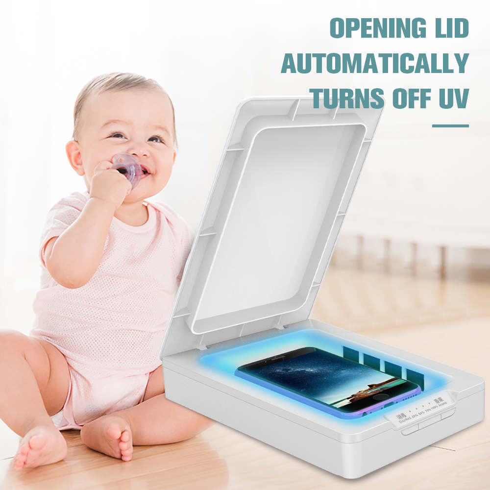 Portable Masks Phone UV Watch Masks Sterilizer Cleaner Box With USB Charging Port Aromatherapy Sterilization Box For Office Home