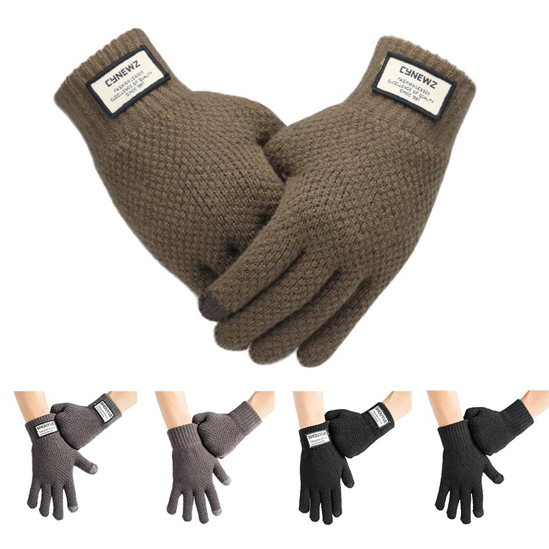 Free Size Gray Women Men Knitted Gloves Mitten Thicken Warm Wool Cashmere Touch Screen Khaki Black 1Pair Warm Solid Winter