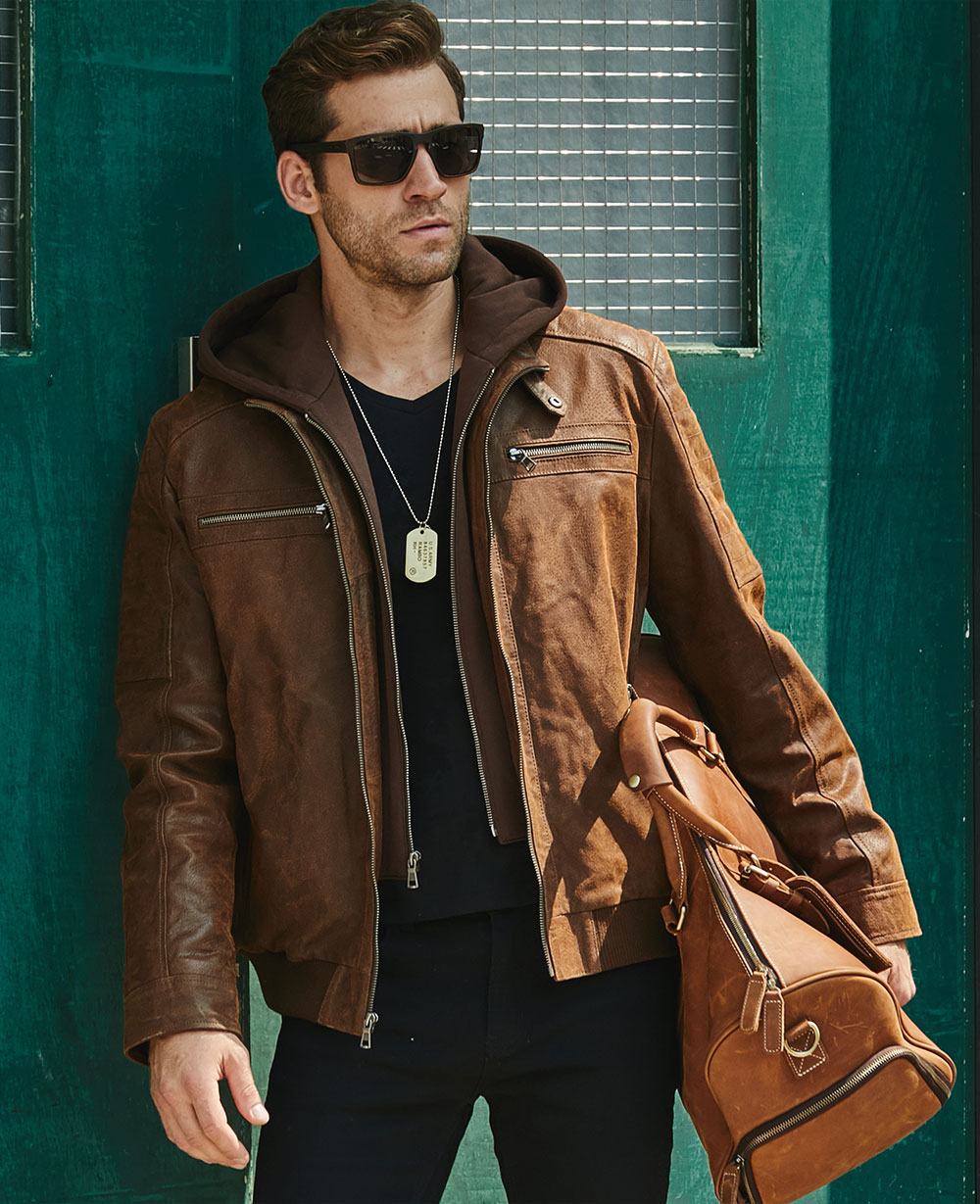 Hef56a18a103c48148d744c6991fbbcd2i New Men's Leather Jacket, Brown Jacket Made Of Genuine Leather With A Removable Hood, Warm Leather Jacket For Men For The Winter