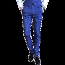 2019 autumn new mens suit pants slim plaid trousers fashion cotton  business casual
