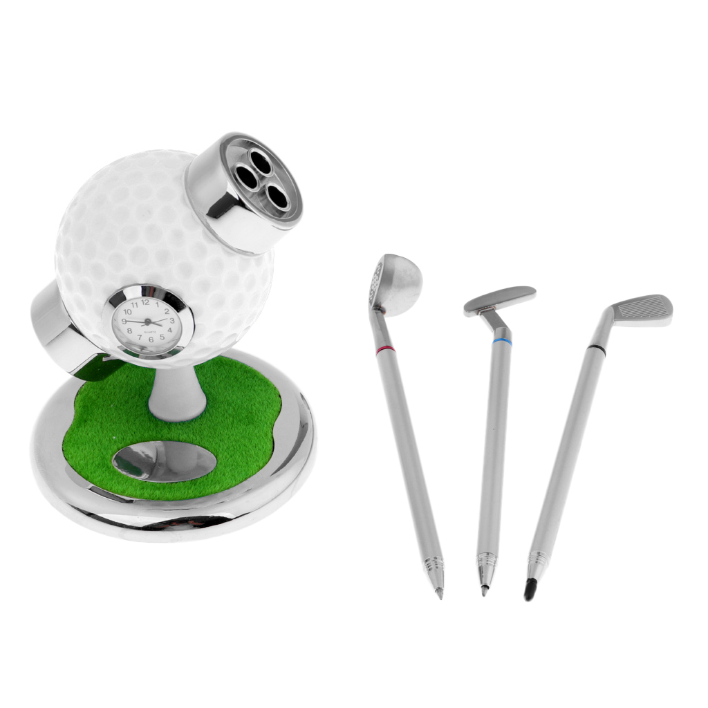 Mini Desktop Golf Ball Pen Stand With Golf Pens 3-piece Set Of Golf Souvenir Novelty Gift
