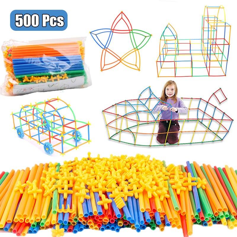110-500 шт. DIY соломы вставляется в строительный блок игрушка пластиковая конструкция стакан на присоске для создания игра-головоломка игрушка