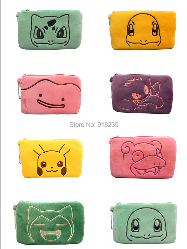 8 Styles Pikachu Bulbasaur Squirtle Snorlax Charmander Ditto Slowpoke Gengar 20X12CM Coin Purses Handbags Plush Toys SYTJ
