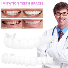 Full Set Top + Bottom Silicone False Teeth Top Bottom Upper Lower Veneers False Teeth Cosmetic Denture One Size Fits Most