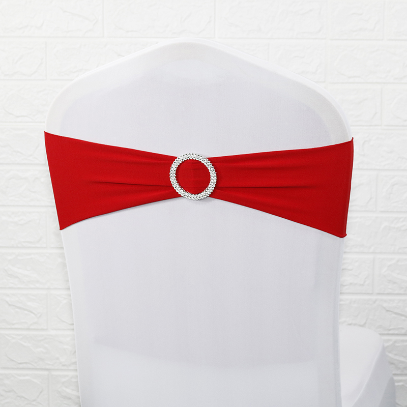 100pcs Lycra Chair Cover Chair Band With Round Ring For Banquet Party Decoration Event Wedding Spandex Chair Sashes Bow