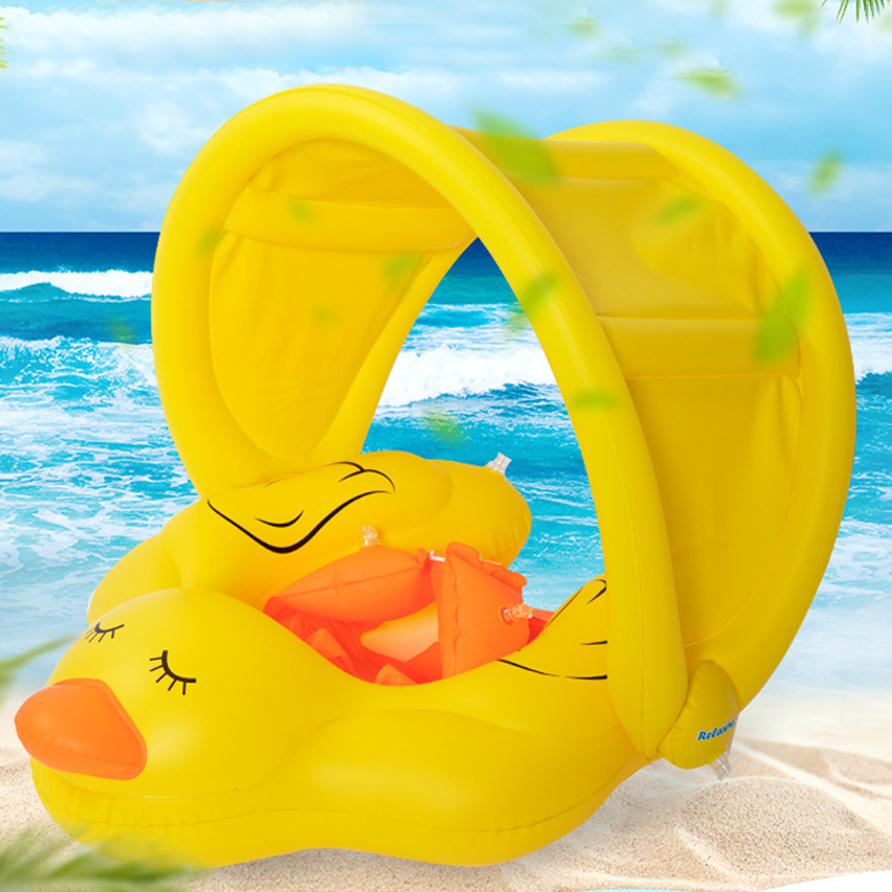 Baby Swimming Ring With Awning For 0-6 Age Childrens Sun Shading Swim Circle Pool Float Inflatable Buoy PVC Rubber Ring Toys