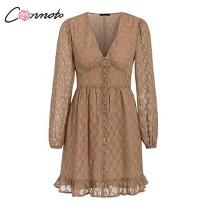 Image 5 - Conmoto Vintage Winter Elegant Dress Women Chiffon Button Ladies Dress Retro Short Ruffles V Neck Party Dresses Vestidos