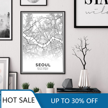 Latitude Longitude Seoul City Map South Korea Travel Wall Art Canvas Painting Poster Print Black and White Wall Decor Home Decor image