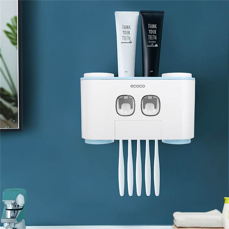 Wall Mounted Rack Stick Firmly Family Bathroom Wall Accessories Plastic Toothbrush Holder Automatic Toothpaste Dispenser image