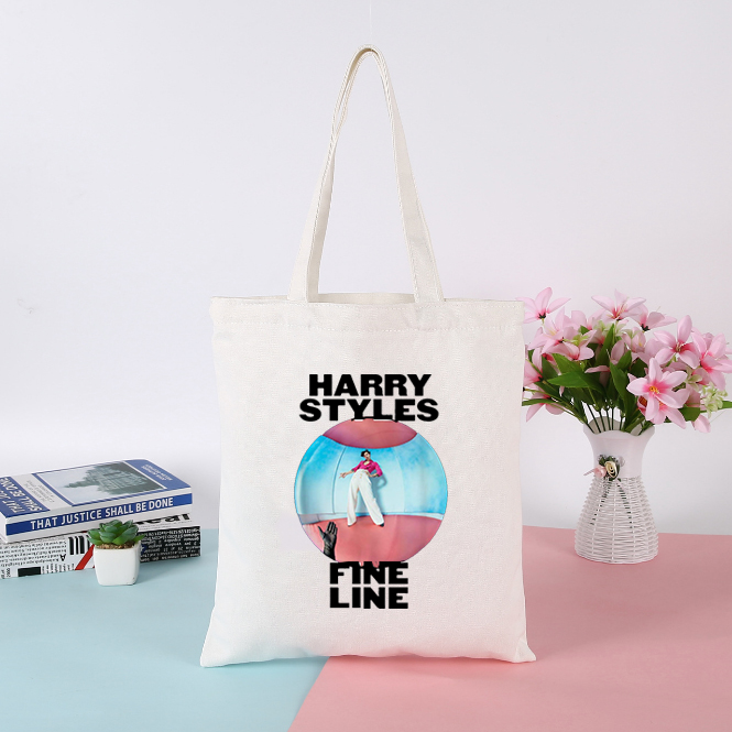 Korean Simple Tote Bag Harry Styles Shopping Bag Womens Bags Handbags Canvas Messenger Bag Fine Line Female Fashion Ulzzang Bag