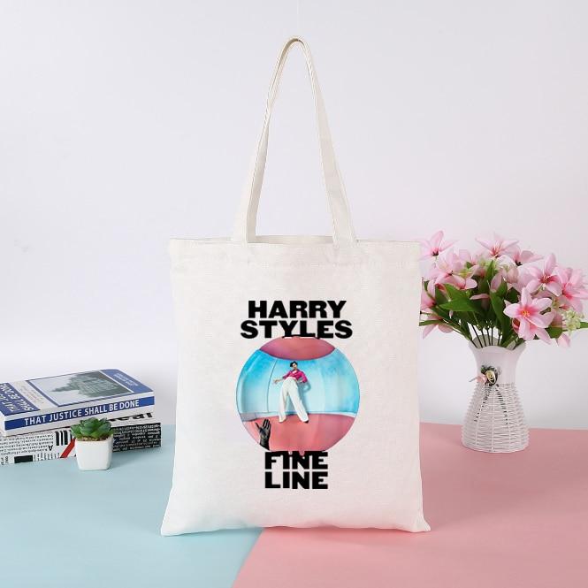 Korean Simple Tote Bag Harry Styles Shopping Bag Womens Bags Handbags Canvas Messenger Bag Fine Line Female Fashion Ulzzang Bag