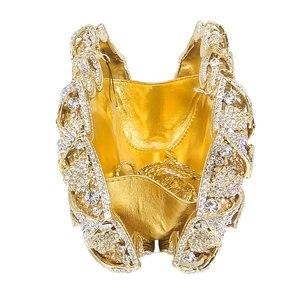 Image 5 - Boutique De FGG bolsos De mano De noche con cristales deslumbrantes para mujer, estuche rígido De Metal, para boda, fiesta, flor, bolso De mano, monedero