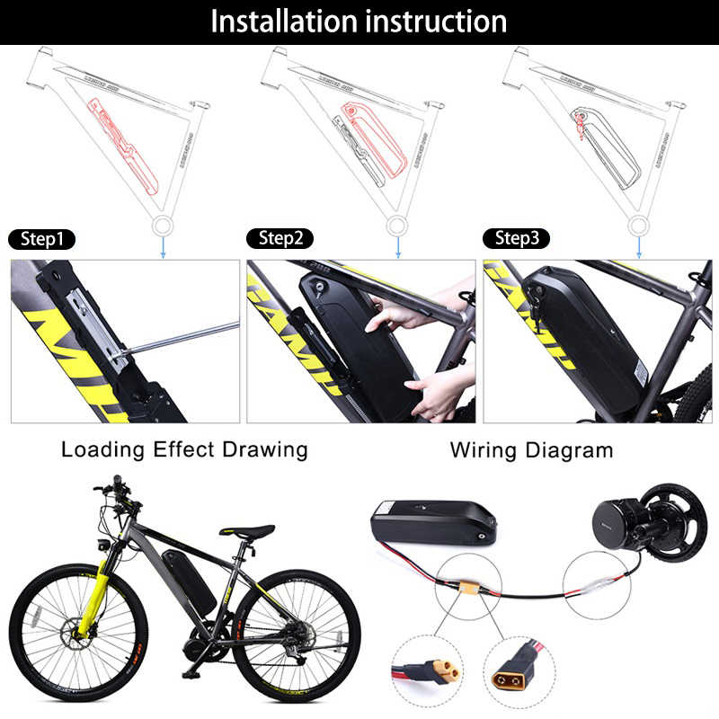 Paquete de batería de bicicleta eléctrica 52V 14Ah 48V 12Ah 17.5Ah 36V 17.4Ah construido en Samsung 18650 celdas Hub Mid Drive batería de bicicleta
