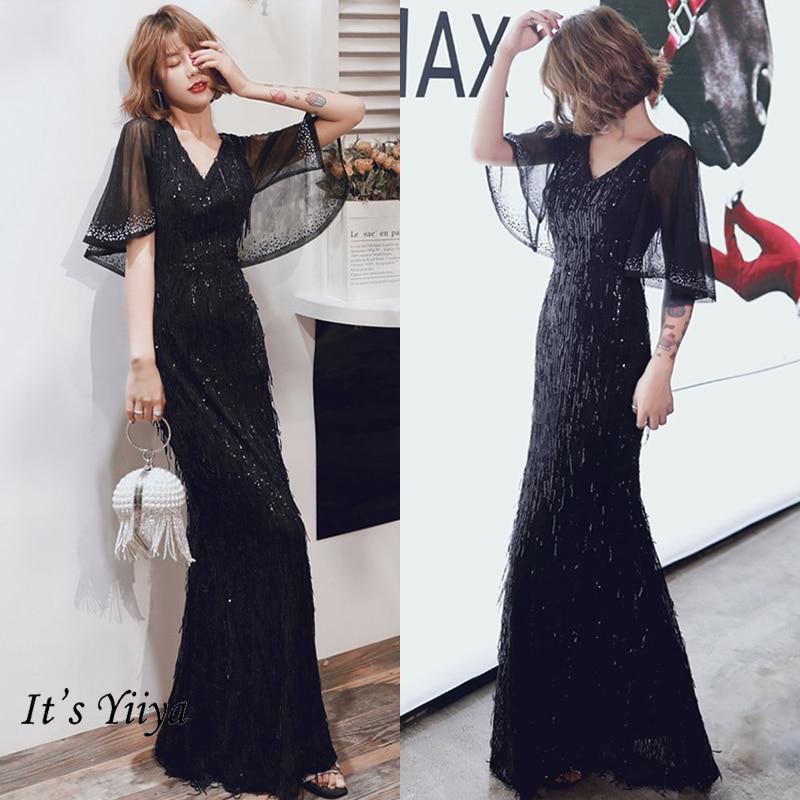 It's Yiiya Evening Dress Plus Size Formal Evening Dresses Long K031 Mermaid Black Robe De Soiree 2020 Elegant Formal Gowns