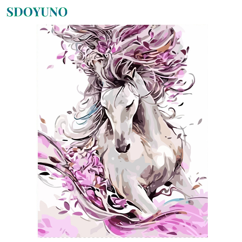 SDOYUNO 60x75cm Painting By Numbers Horse Animals DIY Frameless Pictures By Numbers On Canvas Wall Art For Home Decor