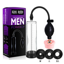 Extensor de longitud de pene para hombres, bomba al vacío en material de plástico alargadora de pene, juguete sexual masculino erótico para agrandar miembro genital