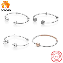 100% 925 Solid Silver Mickey Minnie Charm Bracelets for Women Chain Bracelet Bangle Fashion DIY Making S925 Jewelry Gift