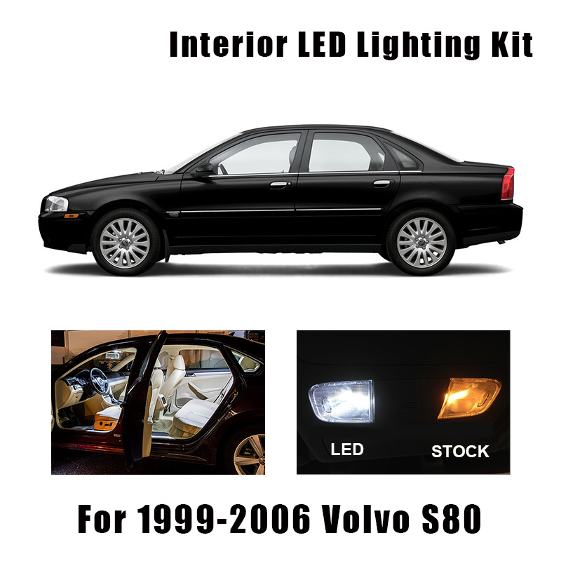19 Bulbs White Canbus LED Interior Map Dome Light Kit Fit For 1999-2003 2004 2005 2006 Volvo S80 Courtesy Cargo License Lamp