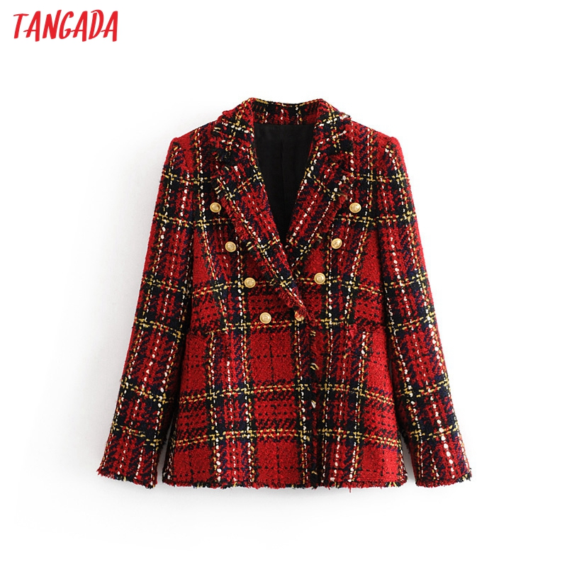 Tangada Women Warm Winter Double Breasted Red Suit Jacket Office Ladies Vintage Plaid Blazer Pockets Work Wear Tops 3H16