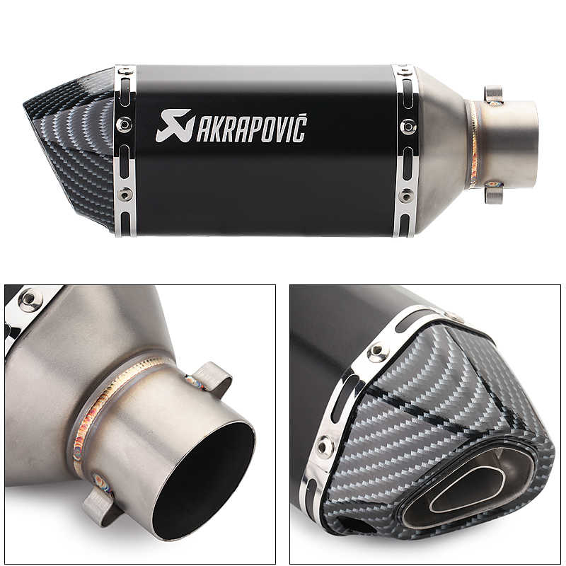 Akrapovic 51 Mm Moto Rcycles Exhaust dengan DB Pembunuh untuk Yamaha Nmax Yamaha MT10 Benelli 600 KTM RC 125 Yamaha R6 Moto aksesoris
