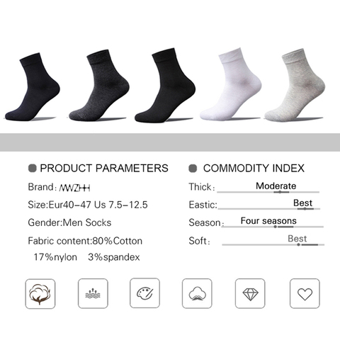 MWZHH 10 Pairs Men Cotton Socks Men Brand New Business Leisure Dress Socks Male 100 Cotton Socks Long Warm Socks Black For gifts Multan