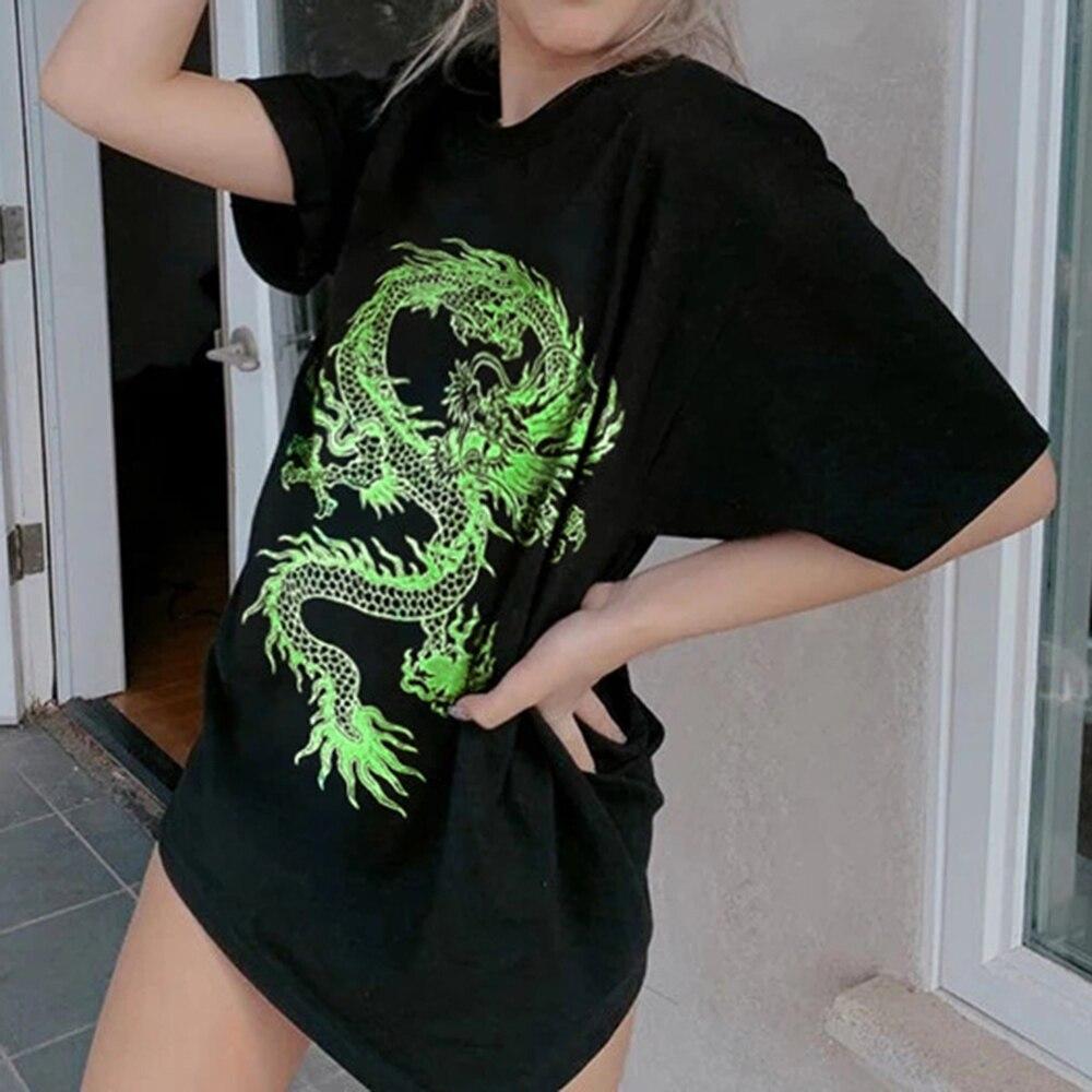Винтажные Стиль китайский Дракон шаблон печати для женщин Летняя футболка Harajuku размера плюс свободные печати топы, футболки в стиле «панк» ...