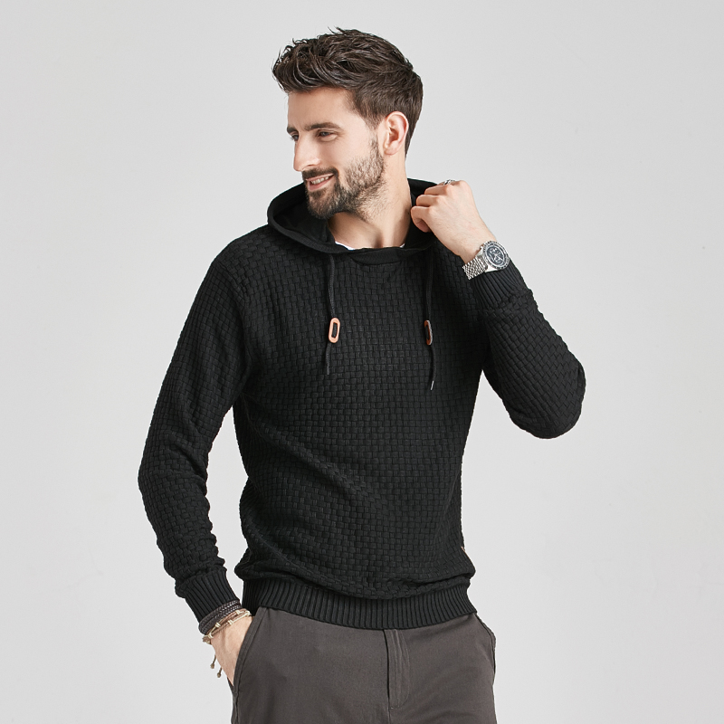 2020 New Men Winter Warm Hoodies Fashion Casual Knit Sweater Men High Quality Autumn Slim Hooded Men Sweater Pullover Coat 2