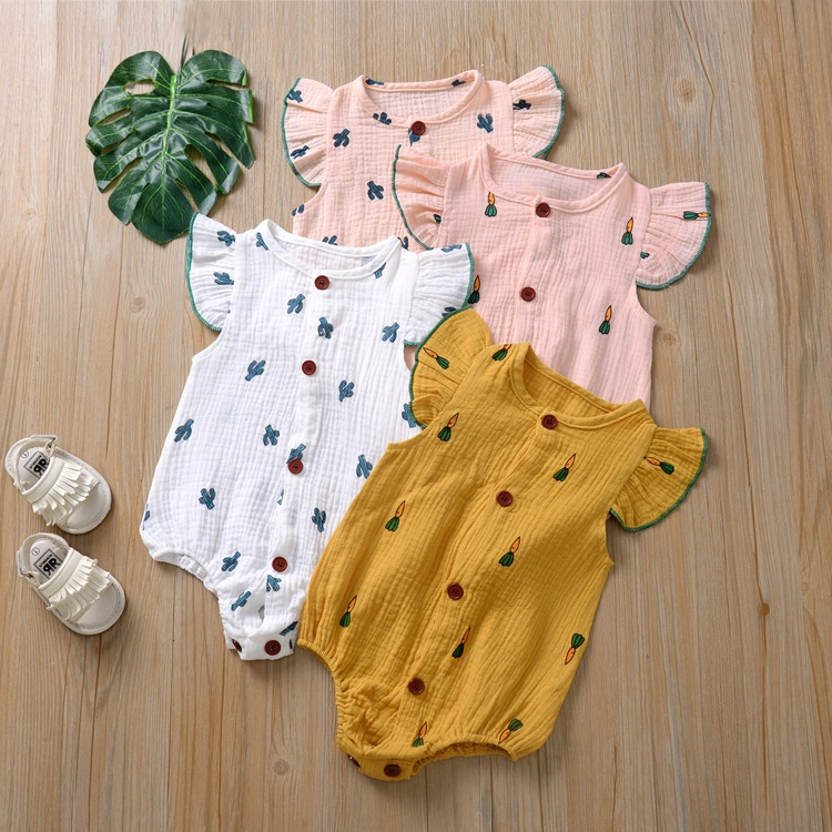 Newborn Clothes Baby Girls Rompers Summer Cotton Short Sleeve O-neck Cartoon Pure Color Home Wear Infant Baby 2020 Baby Jumpsuit