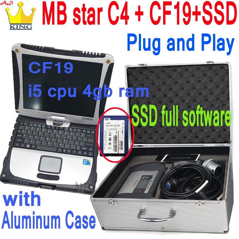 Лучший реле MB STAR C4 SD Connect компактный 4 Мультиплексор MB C4 программное обеспечение 2020 12 диагностическое сканирующее устройство с ноутбуком CF-19 ...