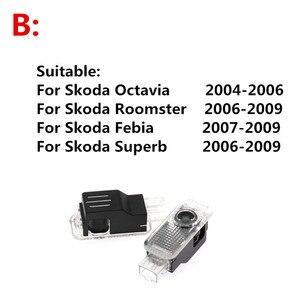 Image 3 - 2PCS 자동차 LED 문 로고 레이저 프로젝터 유령 그림자 환영 빛 Skoda Octavia A5 2005 2011 2012 2013 Superb Febia Roomster