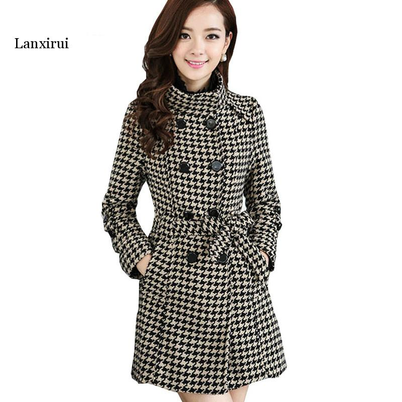 Autumn Winter Women Windbreaker Coat Black White Houndstooth Plus Size Boss Self-cultivation Coat Women Lanxirui