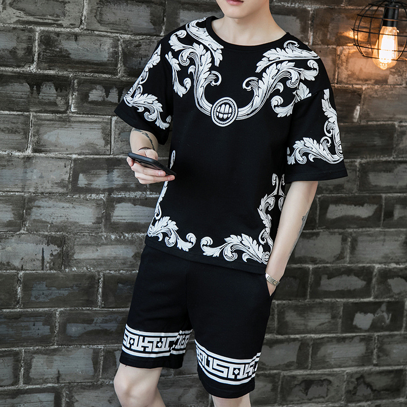 Lively Fella Handsome MEN'S Suit Fashion Summer Men'S Wear A Set Of Large Size Casual Athletic T-shirt Shorts Two-Piece Set