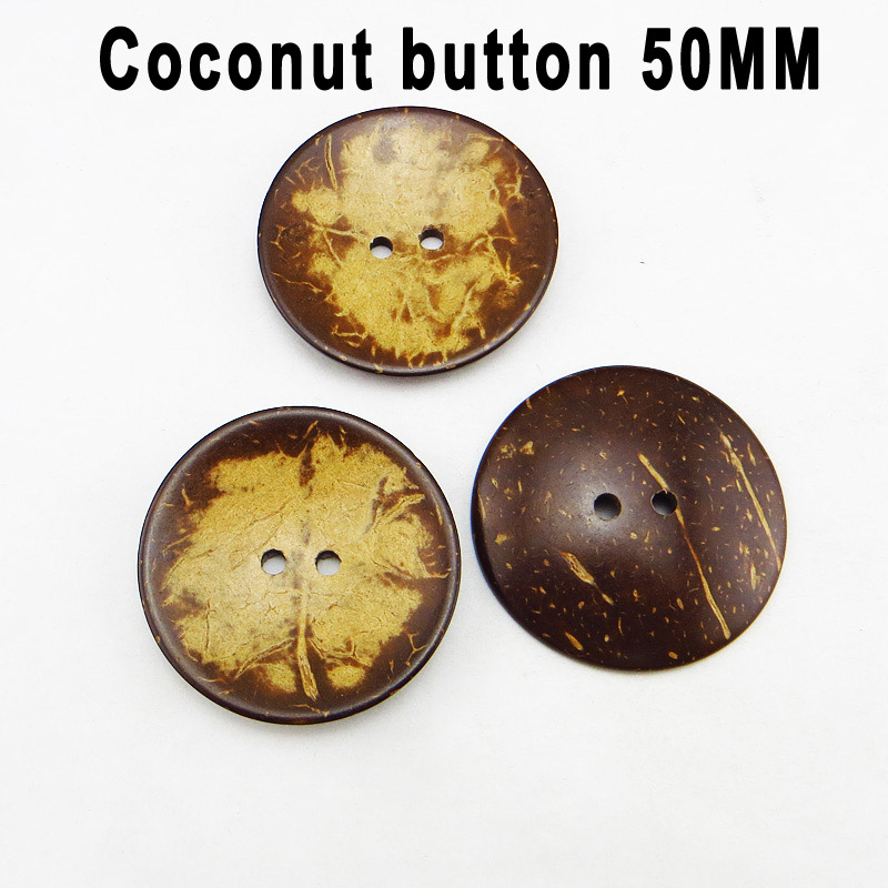 5PCS <font><b>50MM</b></font> COCONUT <font><b>buttons</b></font> clothes sewing <font><b>button</b></font> round jewelry accessory charms sewing boots coat accessory ccb-072 image