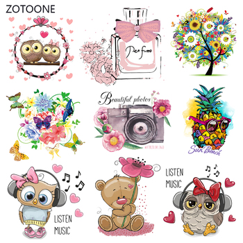 ZOTOONE Cute Cartoon Animal Patches Heat Transfer Iron on Patch for T-Shirt Children Gift DIY Clothes Stickers Heat Transfer G zotoone owl animal heat transfer patches for clothing sticker diy cute iron on letter transfert thermocollants t shirt printed g