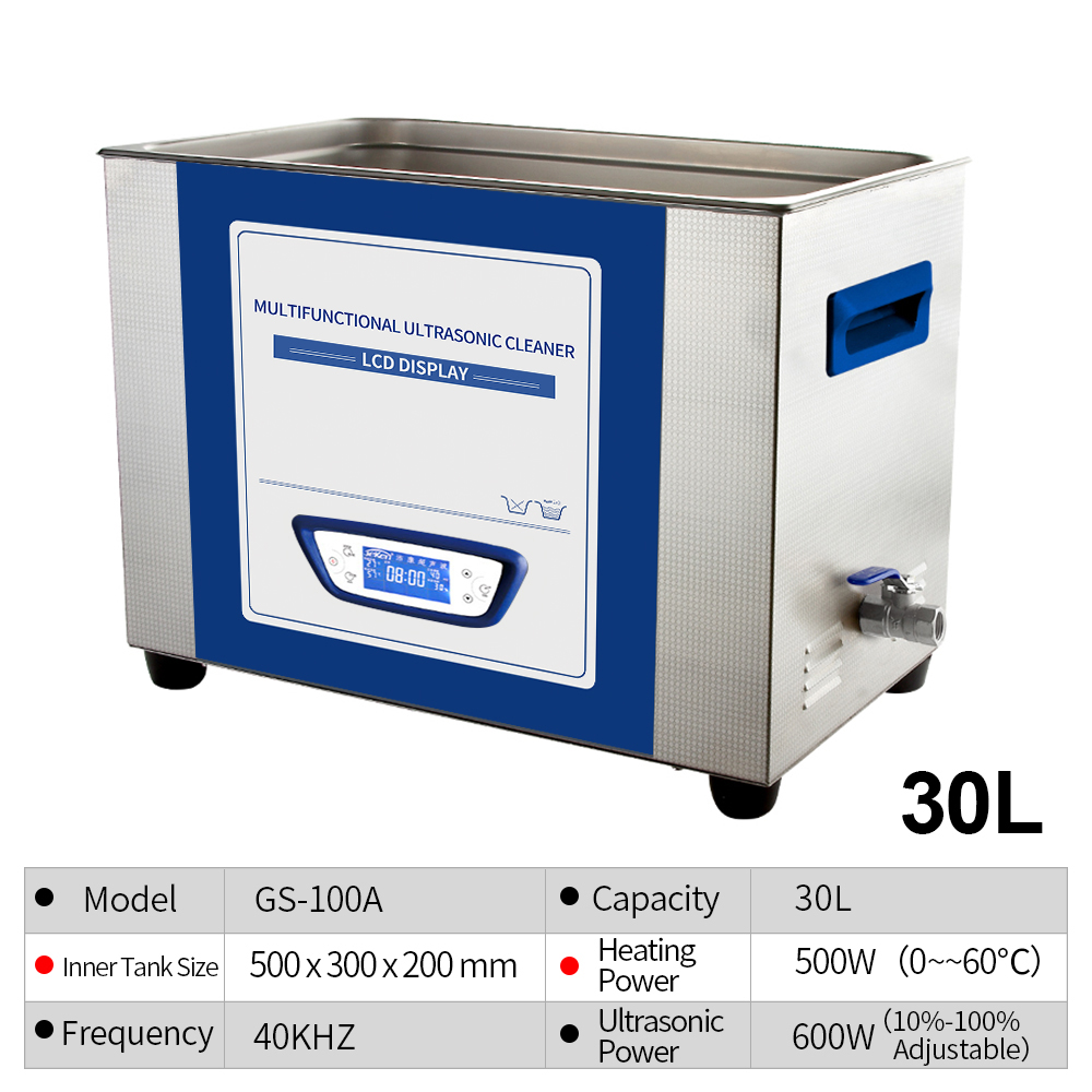 Professionele Ultrasone Reiniger 30L Ontgassen Sweep frequentie Lage ruis Macht Tijd Temperatuur Verstelbare PCB Printplaat