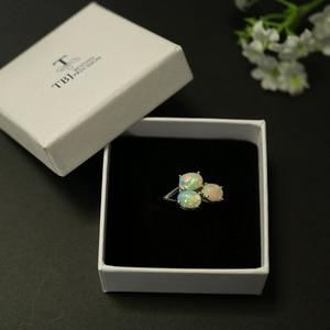 Image 5 - Tbj, 3 חתיכה למעלה איכות אופל טבעת סגלגל 6*8mm 2.8ct חן תכשיטים 925 סטרלינג כסף מתנה נשים אשת חברה