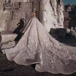 Image 2 - Stunning Crysal Luxury Ivory Long Sleeves Wedding Dresses 2020 Full Beading 3D Flowers Sequined Bridal Gown