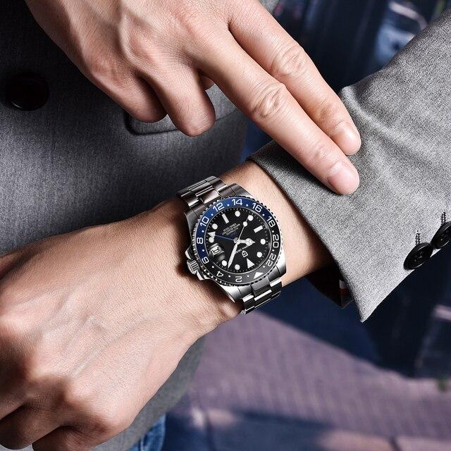 PAGANI DESIGN New Luxury Men Mechanical Wristwatch Stainless Steel GMT Watch Top Brand Sapphire Glass Men Watches reloj hombre 6