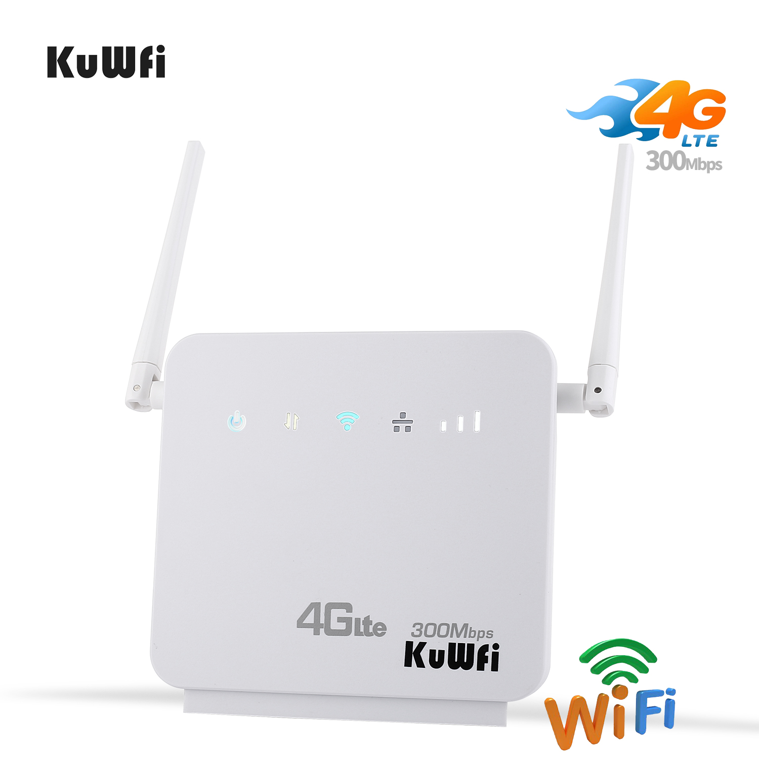 KuWFi Unlocked 300Mbps Wifi Routers 4G LTE CPE Mobile Router,Two LAN Port Support SIM Card And Europe/Asia/Middle East/Africa